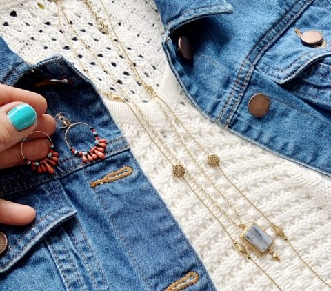 Denim Jacket with earrings to match a style
