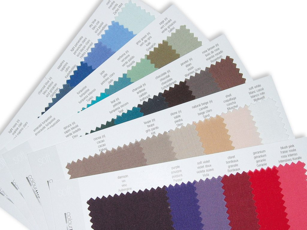 Colour charts used in a colour consultation